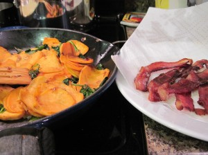 The happy intersection of bacon and sweet potatoes.