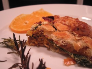 Serve the sweet potato bacon rustic tart warm or room temperature with fruit or a salad.