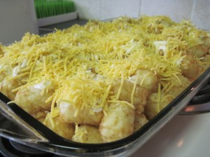 Tater Tot Casserole layered and prepped for the oven.