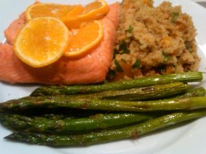 Orange Salmon, Broiled Asparagus, Accidental Butternut Bulgar