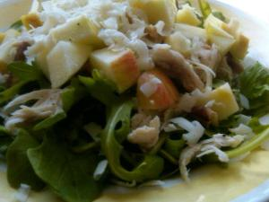 Chicken Jolt Salad with Espresso Cheese, Apples, and Dijon-Sherry Vinaigrette