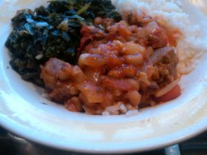Hoppin' John with Collard Greens on the side. Leftover lunch heaven.