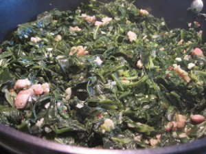 Saute collards and taste for seasoning until they're done. The turkey adds saltiness, so taste before adding more.