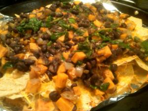 The veggie nacho rainbow: black beans, sweet potatoes, and some spinach for good measure.