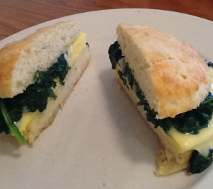 Neal's Deli Biscuit with Egg, Swiss Cheese, and Garlicky Spinach: It's a Health Food Really