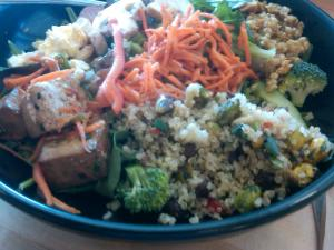Quinoa and tofu add substance to this Whole Foods salad. I thinned the Thai dressing with lemon juice.