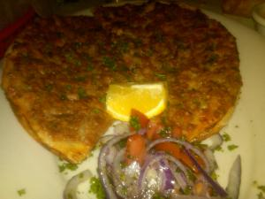 Lahmacun (or Turkish Beef Pizza) at Bosphorus in Cary, NC