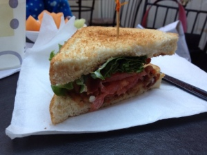 A BLT, recently ordered and consumed with glee by The Practical Cooks Junior