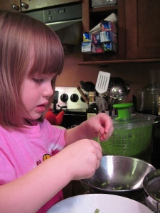 The Youngest Practical Cook Junior Hard at Work: Because Green Beans Don't String Themselves