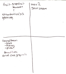Four-Square Grocery Shopping List: 2/12/2012