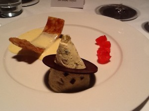 Deconstructed Parfait with brittle, ice cream, and maraschino cherries (SkyLounge Mint/Hilton, London)