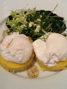 Poached eggs over polenta with mushrooms, rocket, and feta (Dinner at Heston, Knightsbridge, London)