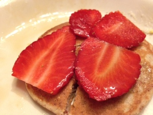Sliced Strawberries on Almond Buckwheat Pancakes