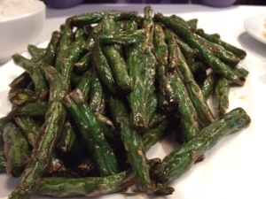 Delicious Chinese green beans came with a recommendation!