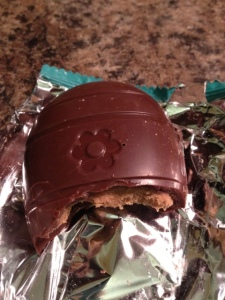 Trader Joe's Peanut Butter Egg loses points for crunchy chocolate coating.