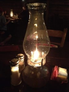 Kerosene lamps light The Farmhouse Steakhouse in Chapel Hill. Great light, a bit strong smelling!