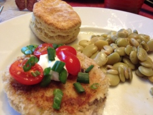 Salmon Cakes are more interesting with garnish!