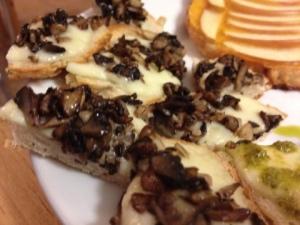 Mushroom Caviar on Mozzarella Bruschetta