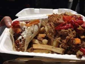 Pork Belly Taco and Pork Belly Fries: Delicious in a box