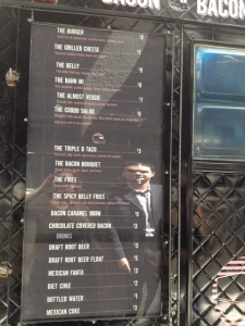 The Menu at the Bacon Bacon SF Food Truck