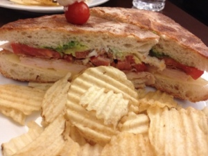 The first meal I was able to sit and eat, possible the greatest club sandwich ever. And yes, there is bacon.