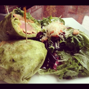 Blackened Tuna Wrap with Avocado and a Tasty Side Salad