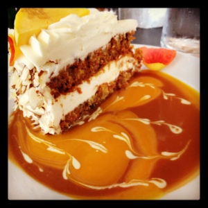 Carrot Cake with Cream Cheese Frosting and Mango-Caramel Glaze