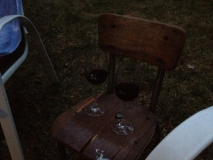 Outdoor wine table.