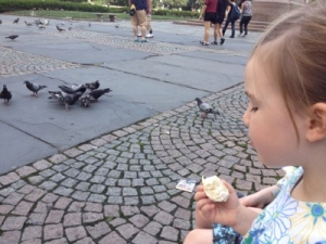 City pigeons meet bird lover and bagel fan.