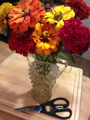 Kitchen Shears make short work of flower stems.