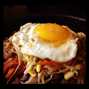 Stone pot bibimbap is available with or without beef!