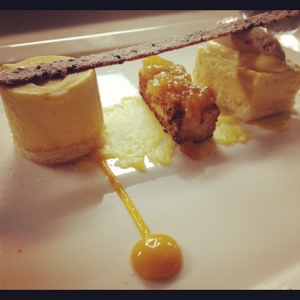 """Mango dessert at ONE Restaurant. """"I'm going to eat this until it's gone."""" --The Youngest"""