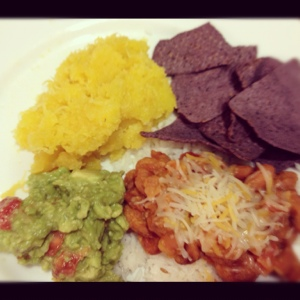 Free form Mexican Meal made with The Jrs. Squash, guacomole, beans and rice, chips.