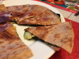 Spinach quesadilla with avocado slices FTW!