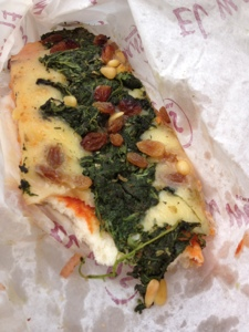 Tomato bread with spinach, pine nuts, and golden raisins. One of my favorite things from Barcelona.