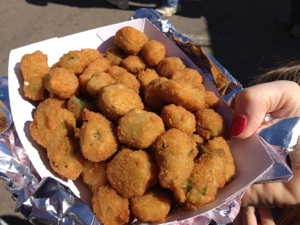Fried okra from the State Farmers Market food cart. It is a family favorite.