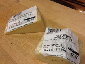Two cheese are better than one. From the bits and pieces bin at Whole Foods, Parmesan and Romano.