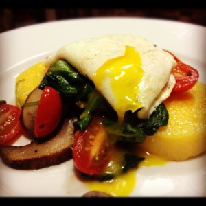Polenta with Eggs, Spinach, and Mushrooms: A vegetarian family favorite!