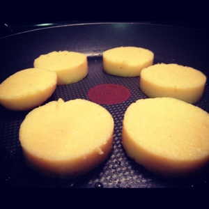Polenta Frying in the Pan