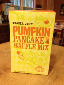 Trader Joe's Pumpkin Pancake and Waffle Mix is both festive and mildly generic looking.