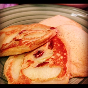 Fall Harvest Pancakes: Pumpkin Pancakes with Apples and Pecans
