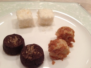 Final course from ChikaLicious: chocolate, coconut, caramel, the dessert trinity.
