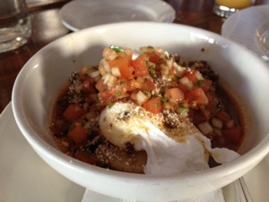 Masa cakes with black beans, eggs, and chorizo, I think I love you. Brooklyn Star.