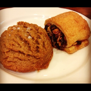 Salted peanut butter cookie with raspberry rugelach. Peanut butter jelly time!