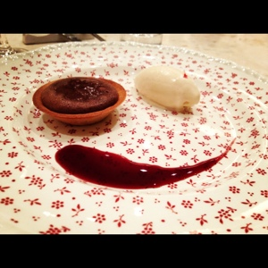 Smile if you like a 3-course dessert menu. (ChikaLicious: Chocolate Tart with Pink Peppercorn Ice Cream)
