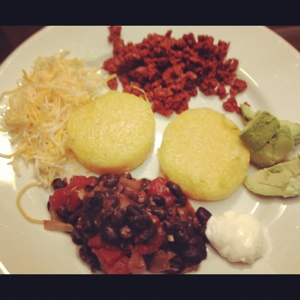 Deconstructed Mexican-Style Polenta, or Polenta Face (courtesy of the Eldest)