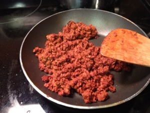 Saute the chorizo (soy chorizo in this case, don't be afraid).
