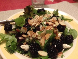 Blackberries and Toasted Almonds on Herby Greens FTW!
