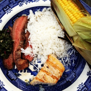 Wintertime Grilling: Steak, Fish, Corn, Rice with Chimmichurri