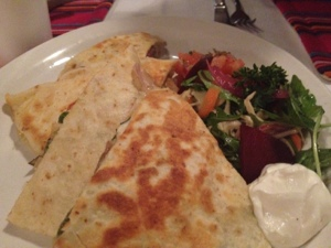 Check out the vegetable action on this quesadilla!!